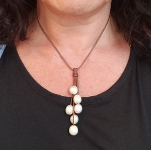 Wendy Mignot leather and pearl teardrop necklace